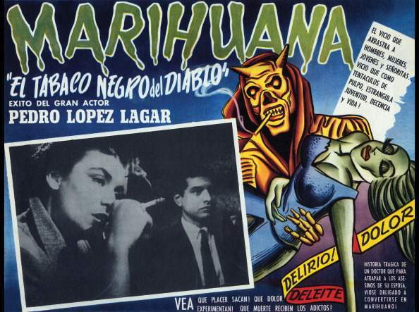 A film lobby card, 'El Tobaco Negro del Diablo' from Argentina for a Spanish film about a respected surgeon, Pablo Urioste is forced to experience a nightmarish world after his wife, a marijuana addict, dies at a Buenos Aires nightclub, 1950. (Photo by Buyenlarge/Getty Images)