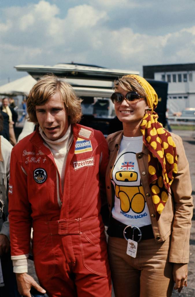 English racing driver James Hunt (1947 - 1993) with his first wife, Suzy Miller, at the British Grand Prix, Brands Hatch, 20th July 1974. (Photo by Getty Images)