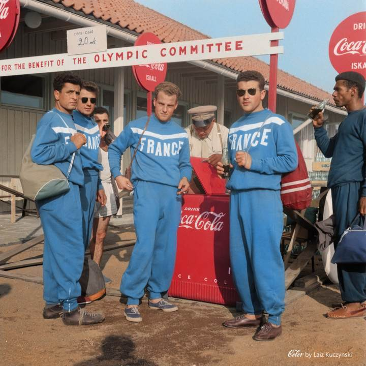 Coca-Cola vending point at the Helsinki Summer Olympics – (July 18, 1952)