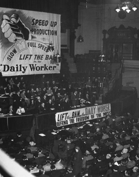 Meeting in the Westminster Central Hall organized by the Communist party to gain support for the campaign to lift the ban on the Daily Worker newspaper.