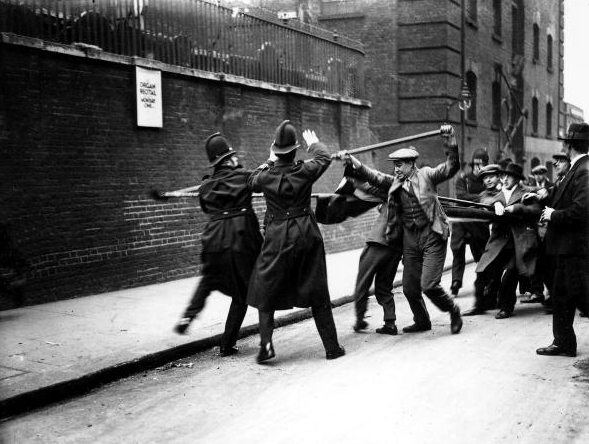 6th, March, 1930, Tower Hill, London, Communists armed with batons, fight police during a demonstration against unemployment