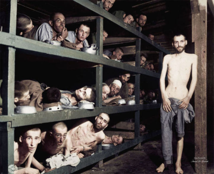 Crowded Bunks in the Prison Camp at Buchenwald, (April 16, 1945)