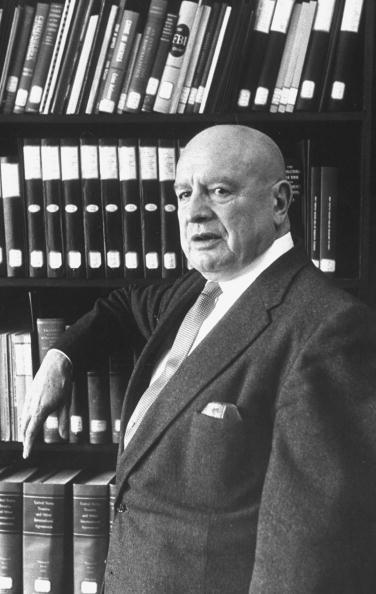 Narcotics comm. Henry J. Anslinger, in his office.  1960