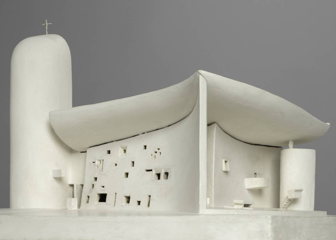 A model of Le Corbusier's Chapelle Notre-Dame-du-Haut, Ronchamp, eastern France, built 1950-55, one of the most important examples of 20th-century religious architecture, with its 'billowing' concrete roof that appears to float.