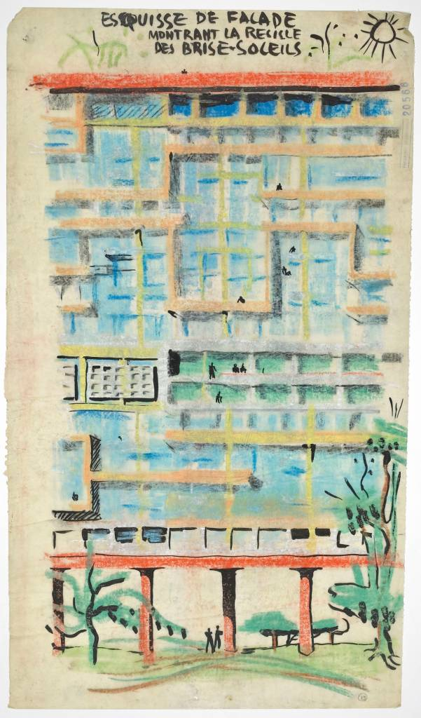 Le Corbusier's theories of the housing unit led to his tower blocks, the unités d'habitation. A sketch of the facade of one of his 'machines for living in', 1944