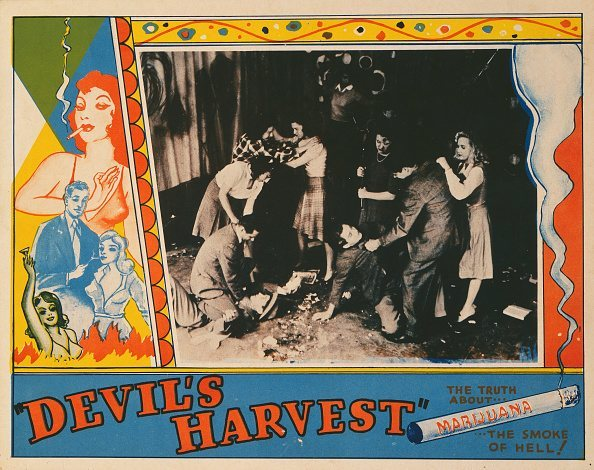 A poster for Ray Test's 1942 drama 'Devil's Harvest'.  (Photo by Movie Poster Image Art/Getty Images)