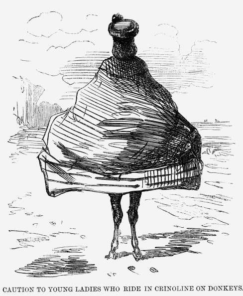 'Caution to Young Ladies who ride in Crinoline on Donkeys', 1860. A wonderfully comic cartoon that refers to one of Punch's favourite targets; the fashionable crinoline. This one shows just how careful the young lady of fashion must be to make sure she knows what she looks like from the back. From Punch, or the London Charivari, November 3, 1860. (Photo by The Cartoon Collector/Print Collector/Getty Images)