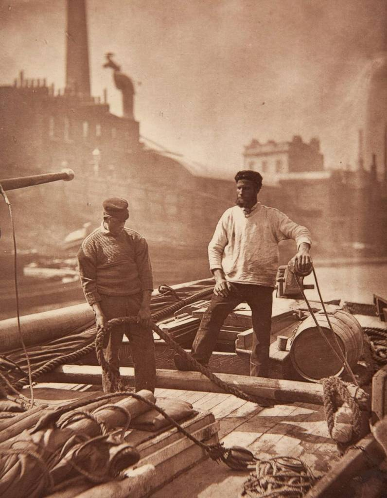 "Workers on the ""silent highway"" (boatmen on Thames)"