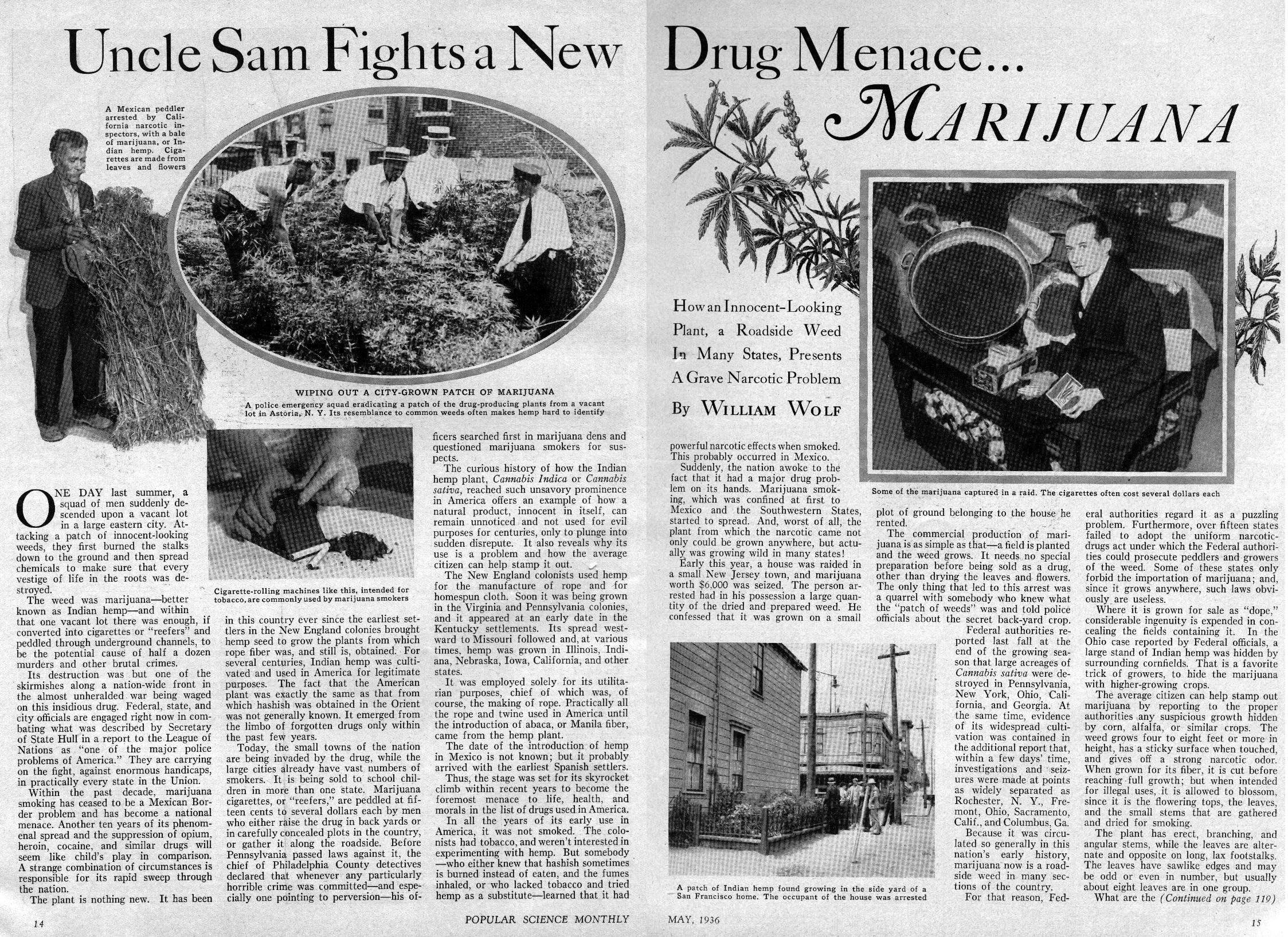 "Popular Mechanix magazine 1937: ""The date of the introduction of hemp in Mexico is not known; but it probably arrived with the earliest Spanish settlers. Thus, the stage was set for its skyrocket climb within recent years to become the foremost menace to life, health, and morals in the list of drugs used in America."""