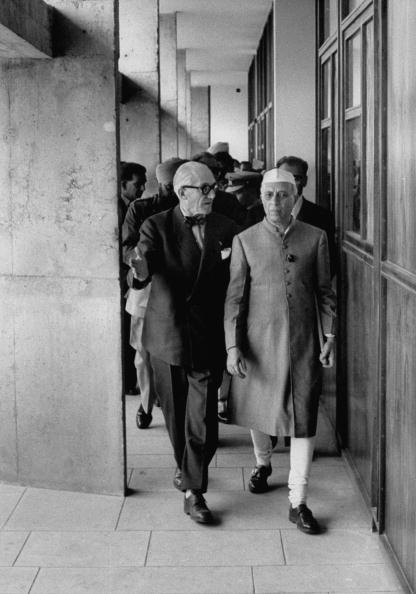 Architect, Le Corbusier (L) and Prime Minister of India, Jawaharlal Nehru, inspecting the Secretariat Building in Chandigarh, new capital city of Punjab.