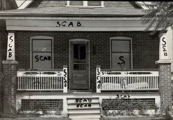 JULY 19: 1946: Strikebreaker's house is shown smeared with the painted word scab. M Lawrence; when notified ot the incident; deplored such action but said it could h work of stooges.