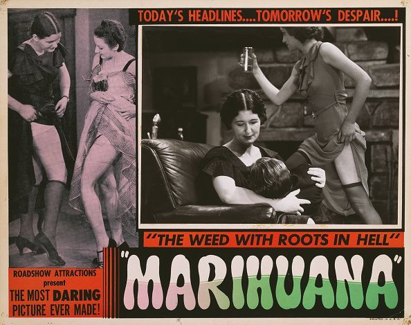 A poster for Dwain Esper's 1936 crime film 'Marihuana'. (Photo by Movie Poster Image Art/Getty Images)