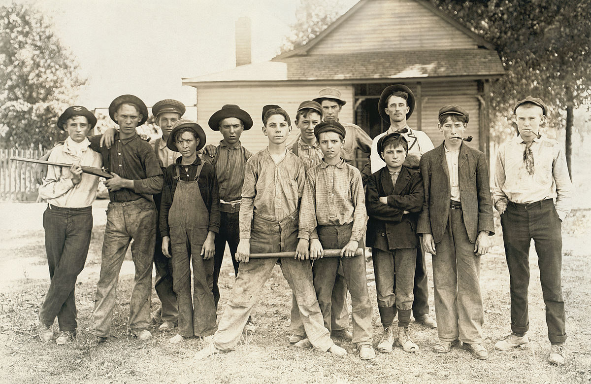 Baseball team composed mostly of child laborers from a glassmaking factory. Indiana, August 1908.