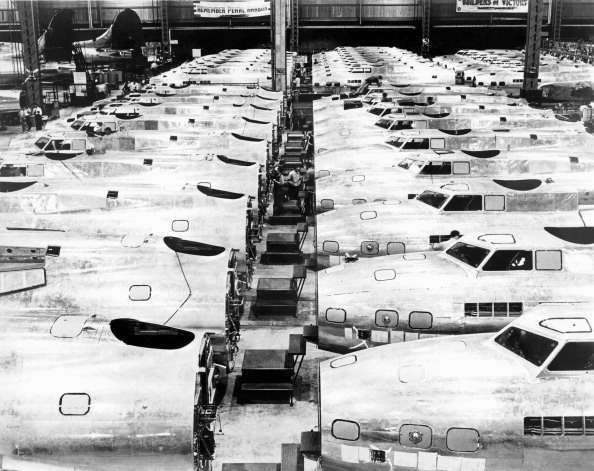 B-17 Fortresses being built at the Boeing plant during WWII, Seattle, Washington, early 1940s. (Photo by Underwood Archives/Getty Images)