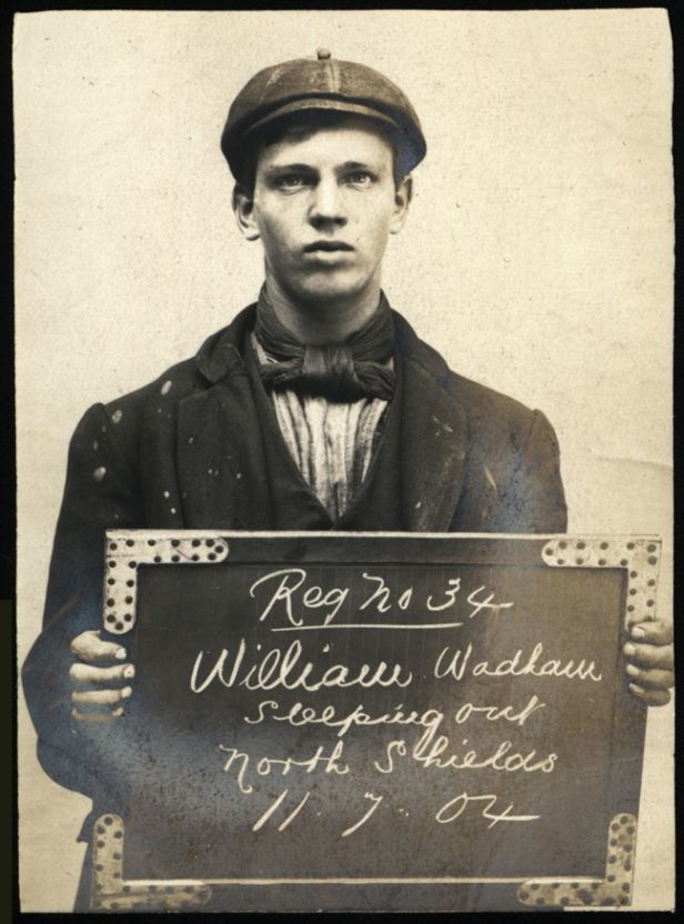 "Name: William Wadham Arrested for: Sleeping Out Arrested at: North Shields Police Station Arrested on: 11 July 1904 Tyne and Wear Archives ref: DX1388-1-51-William Wadham   The Shields Daily Gazette for 11 July 1904 reported:   ""At North Shields, Charles Winlow (53), tramp, no fixed abode, was charge with lodging in a hay stack in Mariners' Lane without having visible means of subsistence, and was sent to prison for seven days."