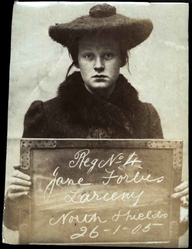 Name: Jane Forbes Arrested for: Larceny Arrested at: North Shields Police Station Arrested on: 26th January 1905