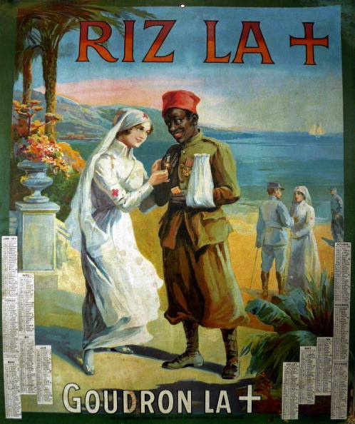 Poster with a calendar advertising Riz la Croix known in English as Rizla. RizLa was a brand of cigarette rolling paper. It also produced some of the first flavoured papers in 1906. The poster shows a Red cross nurse and an injured colonial soldier in the front and others on the beach. Lithograph print, color; France. (Photo by Galerie Bilderwelt/Getty Images)