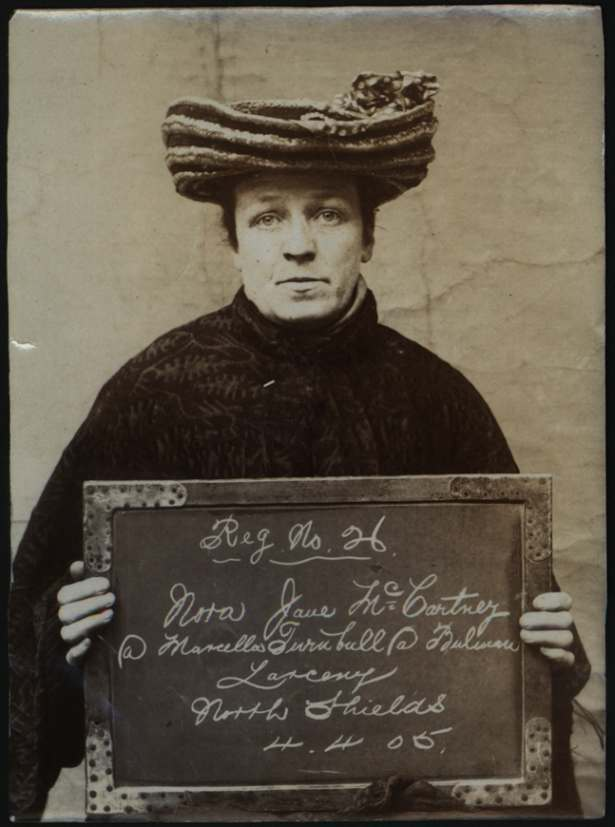 Name: Nora Jane McCartney alias Marcella Turnbull alias Bulman Arrested for: Larceny Arrested at: North Shields Police Station Arrested on: 4 April 1905
