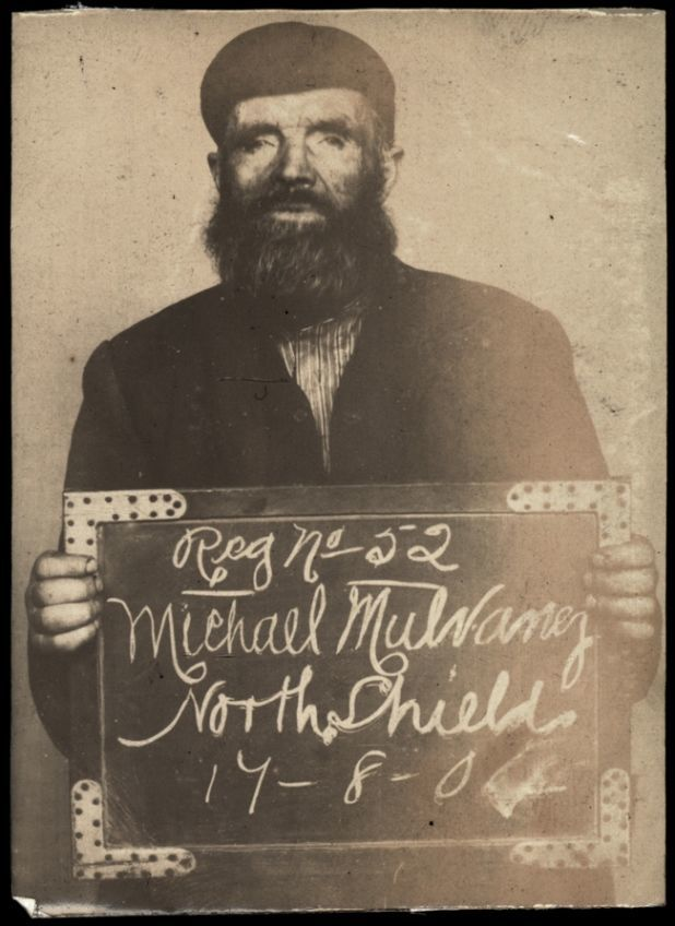 "Michael Mulvaney  Name: Michael Mulvaney Arrested for: not given Arrested at: North Shields Police Station Arrested on: 17 August 1904 Tyne and Wear Archives ref: DX1388-1-55-Michael Mulvaney   The Shields Daily Gazette for 17 August 1904 reports:   ""Michael Mulvaney (63), a tramp of no fixed abode, was charged at North Shields with being drunk in Duke Street, and with begging. The offences were admitted. Prisoner: This is the first time I've been here. The Chief Constable: What other courts have you been in? Prisoner: Oh, several. He was fined 2s 6d and costs or seven days imprisonment in each case""."