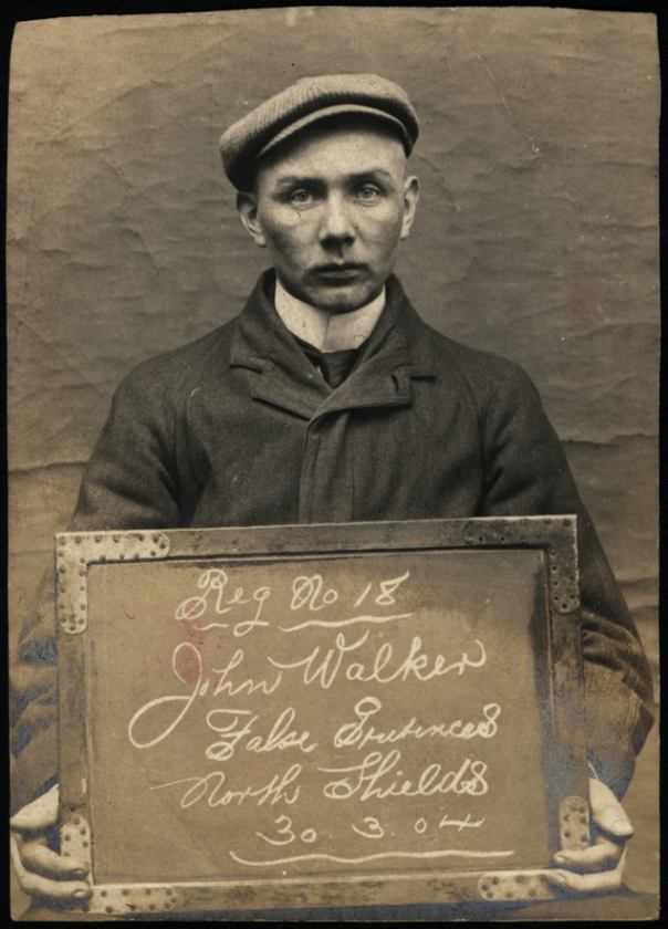 """Name: John Walker Arrested for: False Pretences Arrested at: North Shields Police Station Arrested on: 30 March 1904 Tyne and Wear Archives ref: DX1388-1-27-John Walker   The Shields Daily Gazette for 7 April 1904 reported:   """"FALSE PRETENCES AT NORTH SHIELDS   John Walker (25), boilermaker, pleaded guilty to two charges of obtaining money by false pretences at North Shields, namely £2 from John Moffatt on March 16th, and £1 5s 6d and a suit of clothes from Anthony Rutherford between February 27th and March 16th last."""