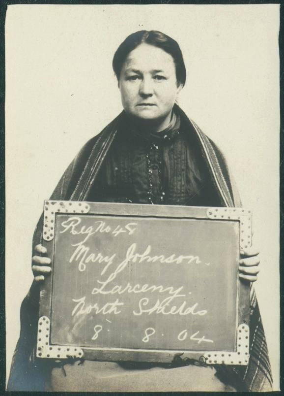 """Mary Johnson  Name: Mary Johnson Arrested for: Larceny Arrested at: North Shields Police Station Arrested on: 8 August 1904 Tyne and Wear Archives ref: DX1388-1-35-Mary Johnson   The Shields Daily Gazette for 8 August 1904 reports:   """"THREE MONTHS EACH. NEWCASTLE THIEVES IN NORTH SHIELDS   Daniel McCann (30), Newcastle, and Mary Johnson (30), alias Elizabeth Chantiller, Newcastle, were charged with stealing the sum of 7s 2d from George Henry Lilley on the 6th.   The prosecutor stated that at 8.35 pm on Saturday he was going along Collingwood Street when he saw the prisoners, who asked him to stand them a drink. They went into a public-house snug and witness called for three drinks. They were supplied, and immediately afterwards the male prisoner put his arms round his (witnesses's) neck. The two prisoners then went out and he followed them, and on putting his hand in his pocket he missed his money and some tobacco. He went to the prisoners and told them he had lost his money. They replied """"We have not got it"""". He informed the police of his loss, and the two prisoners were afterwards arrested."""
