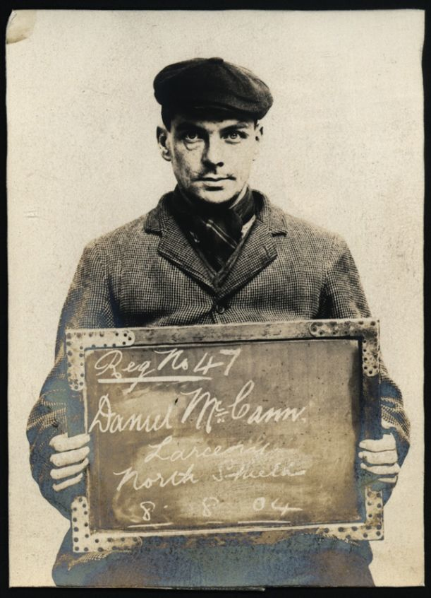 "Name: Daniel McCann Arrested for: Larceny Arrested at: North Shields Police Station Arrested on: 8 August 1904 Tyne and Wear Archives ref: DX1388-1-53-Daniel McCann   The Shields Daily Gazette for 8 August 1904 reports:   ""THREE MONTHS EACH. NEWCASTLE THIEVES IN NORTH SHIELDS   Daniel McCann (30), Newcastle, and Mary Johnson (30), alias Elizabeth Chantiller, Newcastle, were charged with stealing the sum of 7s 2d from George Henry Lilley on the 6th."