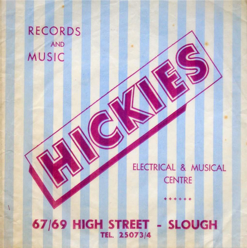Hickies Music Store, Slough, 45 record bag. 1965