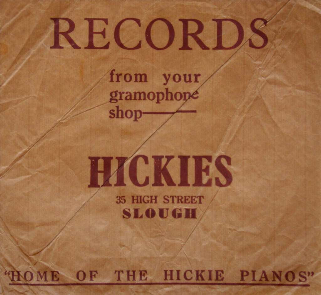 Hickies Music Shop, High Street, Slough, UK, record bag. 1965