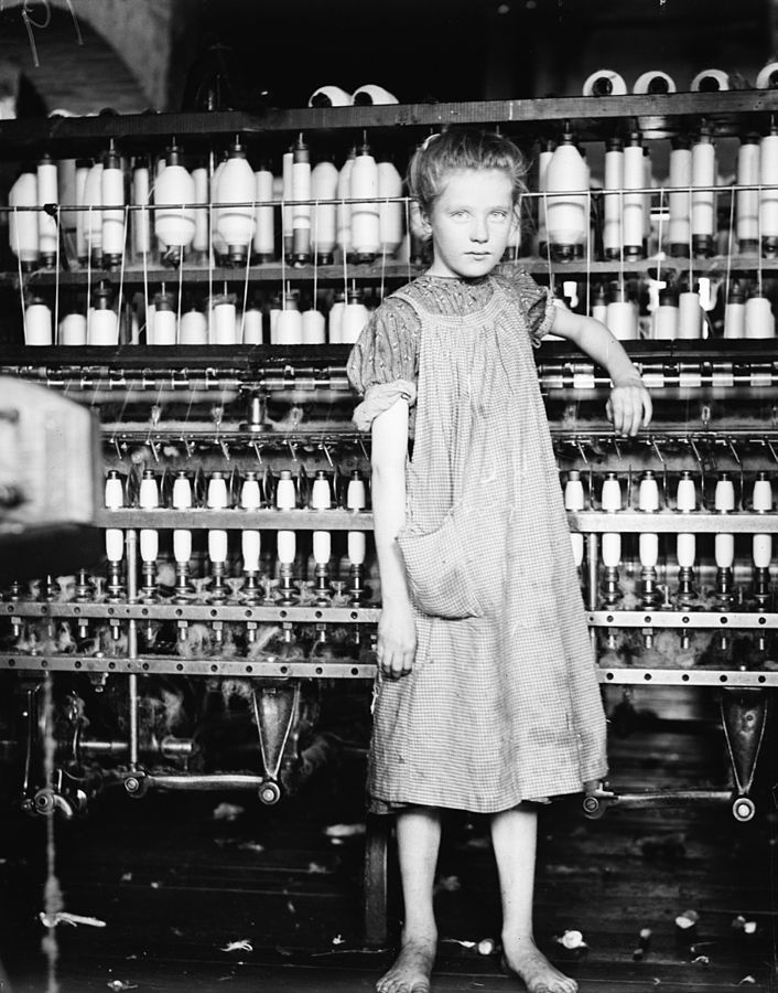 """Addie Card, 12 years. Spinner in North Pormal (i.e., Pownal) Cotton Mill. Vt."", 1910"