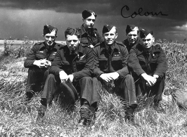"The crew of ""T for Tommy"" Description: The crew of ""T for Tommy"" - George Johnson, Donald MacLean, Ronald Batson, Joe McCarthy, William Ratcliffe, and Leonard Eaton Date: 1943"