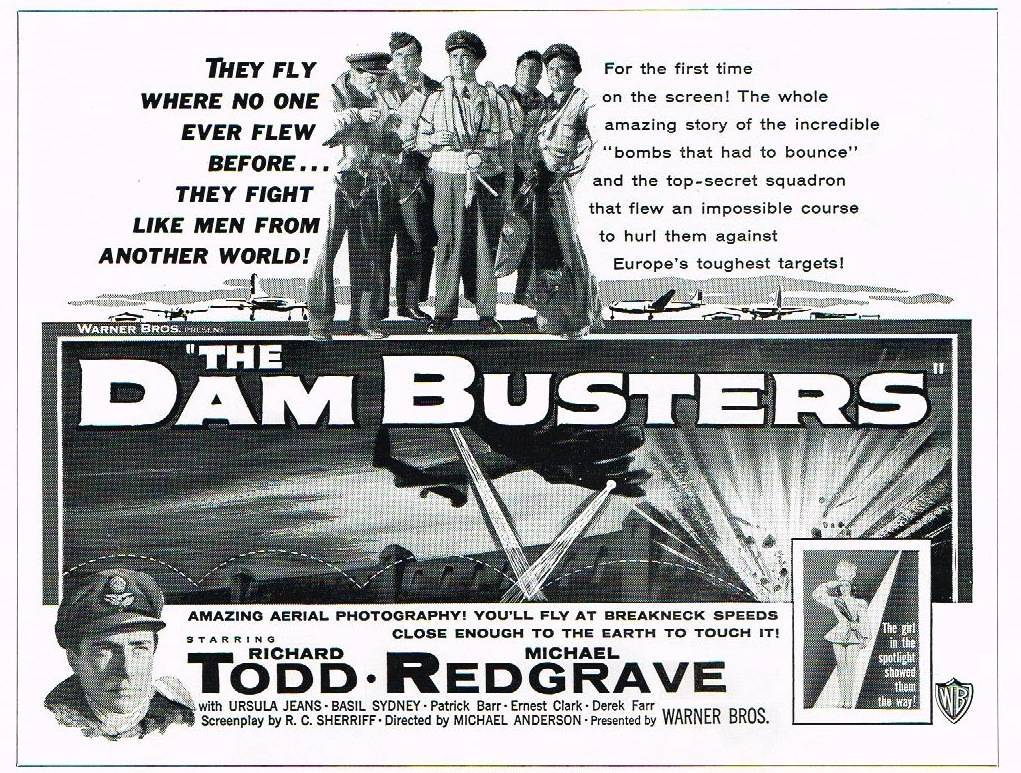 Poster for Dambusters, the movie released in 1955.