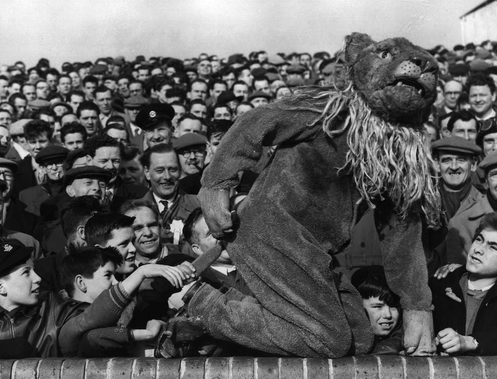 16th February 1957:  The Millwall Lion, the football club's mascot, joins the crowd before kick-off of the FA Cup match between Millwall and Birmingham City.  (Photo by Terry Fincher/Keystone/Getty Images)