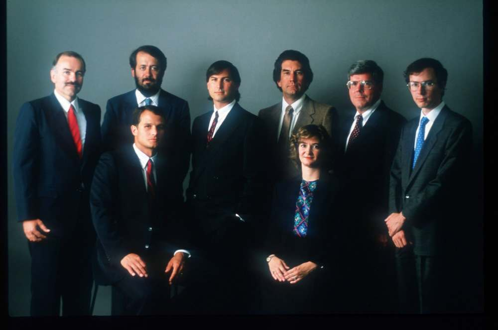 054862 05: The NeXT senior staff poses for a photograph October 12, 1988 in San Francisco, CA. Jobs, co-founder of Apple Computers, left the company after a power struggle with John Sculley to create NeXT corporation. (Photo by Liaison)