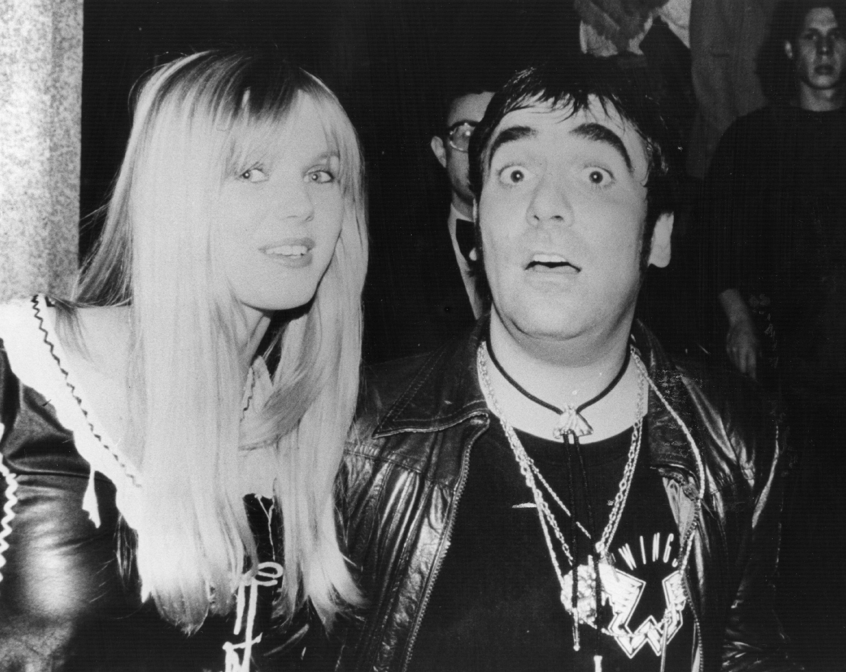 6th September 1978: Notorious wild man of rock Keith Moon (1947 - 1978), drummer of British group The Who, with his girlfriend Annette Walter-Lax at the film premiere of 'The Buddy Holly Story' in London, on what would sadly be his last night out. (Photo by Gary Merrin/Keystone/Getty Images)