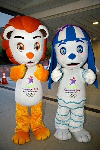"Lyo and Merly were the official mascots of the 2010 Summer Youth Olympics held in Singapore. Lyo is a red male lion whose name stands for ""Lion of the Youth Olympics"", while Merly is a blue female Merlion whose name combines ""mer"" (meaning ""sea"") with ""liveliness"" and ""youthfulness""."