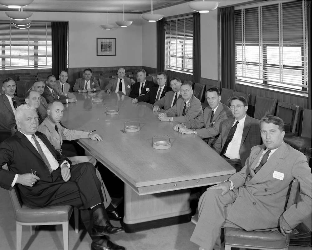 Wernher von Braun at a meeting of NACA's Special Committee on Space Technology, 1958