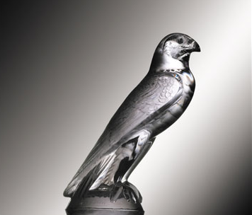 "Faucon Falcon Catalogue Number: 1124 Signature identification: ""R. Lalique France"" molded in relief between tail feathers and back claws Date introduced: August 5, 1925"