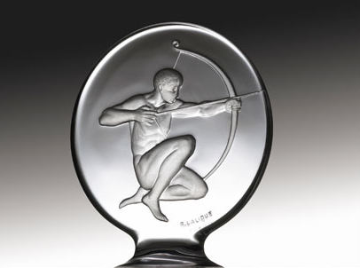 "Tireur d'Arc The Archer Catalogue number: 1126 Signature identification: ""R. Lalique France"" marked via intaglio above the base, immediately beneath and between the left knee and right foot Date introduced: August 3, 1926"