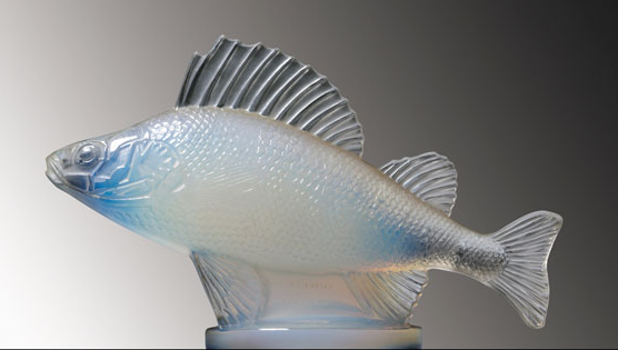 "Perche Perch Catalogue number: 1158 Signature identification: ""R. Lalique France"" molded in relief on side between lower fins Date introduced: April 20, 1929"