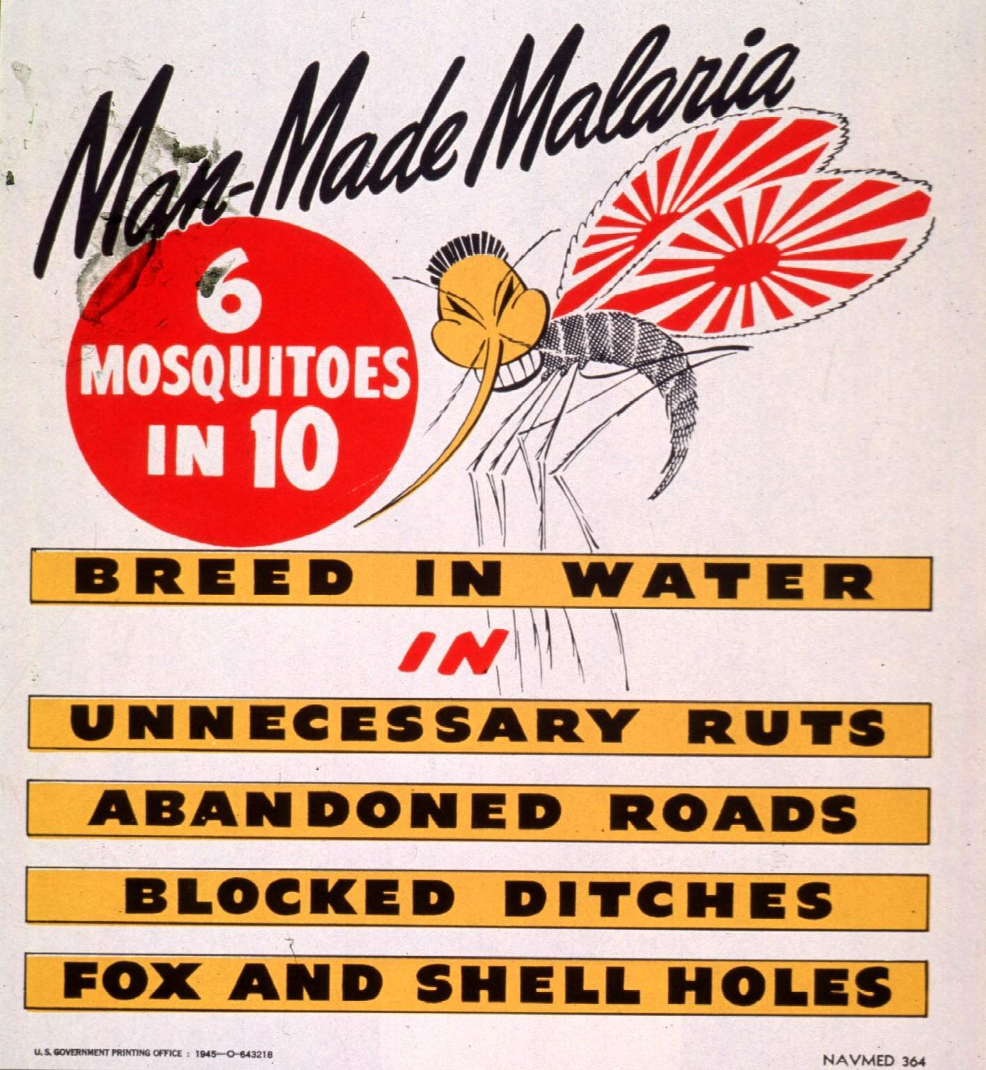 Poster shown in the film Medicine in Action: Pacific Enemy Number Two-Malaria (1944). U.S. Navy Bureau of Medicine & Surgery, 1945.