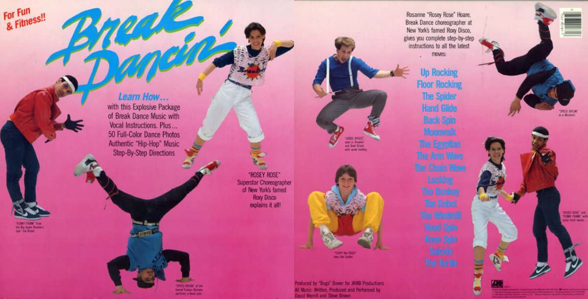 "1984 and I just had to share. First, we have Break Dancin' For Fun and Fitness (Atlantic 80187-1) Break Dancing 1Break Dancing 2Break Dancing 3Break Dancing 4 It's a gatefold talk-over instructional album that ""teaches"" people how to break dance, and it has photos of all the moves to back it up. There's even a primer about learning how to speak the lingo. It features members of the Big Apple Breakers, the Furious Rockers and there to ""explain it all"" is Rodanne ""Rosey Rose"" Hoare, ""Superstar Choreographer of New York's famed Roxy Disco."" It's not exactly the most thrilling record I've ever heard – maybe best described as ""of its time."" I can only imagine what one of Rosey's classes in 1984 might have looked like. (Headbands and leg warmers, anyone?) Second, we have Breakdance (K-Tel NU3360) which promised the ""Best Music for Breakdancing,"" and invited any and all to ""Learn to Moonwalk, Electric Boogie, Footwork, Headspin & Top-Rock."" It is a far hipper album. Side one has some great music on it (incl. ""Rockit,"" and ""Wheels of Steel"") while the B-side – the one with all the instruction – is artfully done and listenable on its own. There's even a warning to parents and the physically infirm, as well as contact information for the New York City Breakers Fan Club (send c/o Hip Hop International, Inc)."