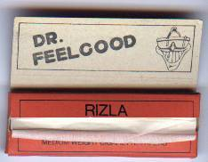"Rizla rolling papers with Dr Feelgood print from around 1979. An original out of the big glass bowl (""Let It Roll"" album back cover). Via"