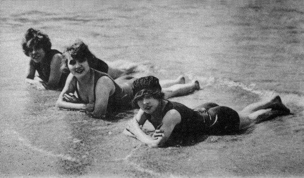 Charming bathers on the beach, postcard, Around 1900, France, Private collection. (Photo by Photo12/UIG/Getty Images)