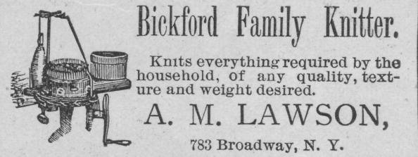 An advertisement for the Bickford Family Knitter published in the 'Authentic World's Fair Journal' dated October, 1892, to promote the World's Columbian Exposition in Chicago, Illinois. (Photo by Museum of Science and Industry, Chicago/Getty Images)
