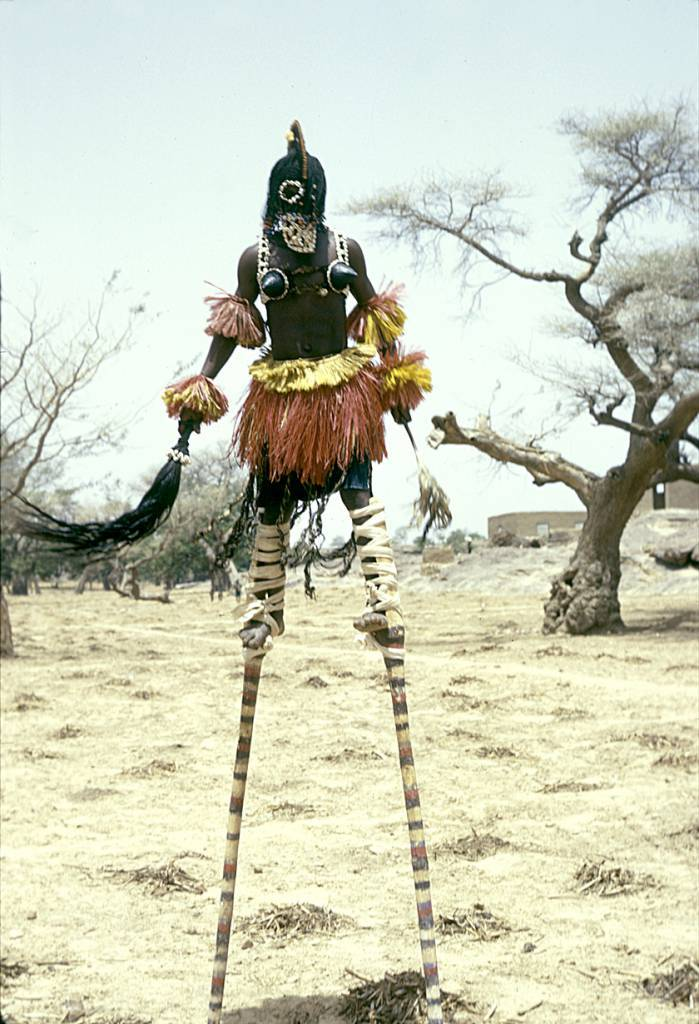 Sirige, Kanaga and stilt masqueraders during the Dama ceremony, Sanga, Mali.