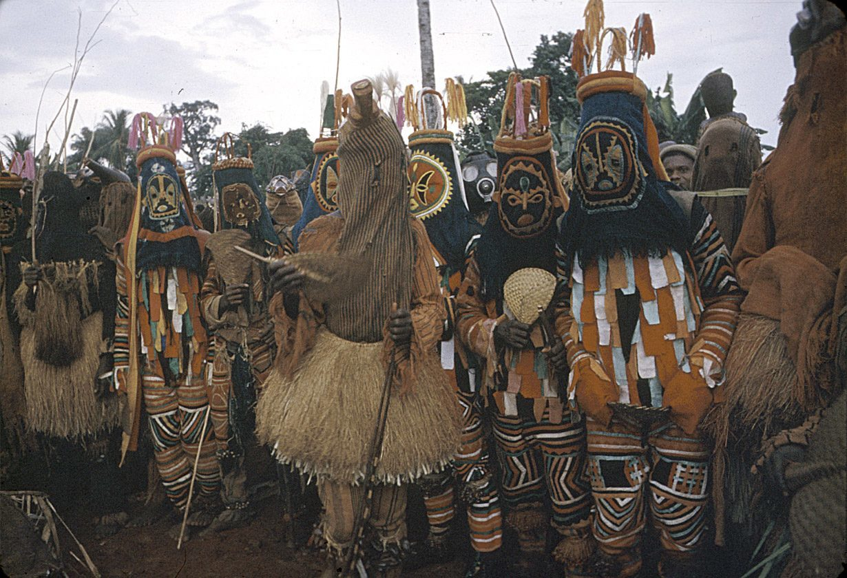 Igbo mask dancers performing during the Onwa Asaa festival, Ugwuoba village, Nigeria.