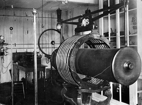 A thermoelectric coil developed by Serbian American inventor and electrical engineer, Nikola Tesla (1856 - 1943), circa 1895. (Photo by Albert Harlingue/Roger Viollet/Getty Images)