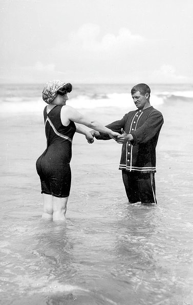 1900:  Bathing suit, about 1900.