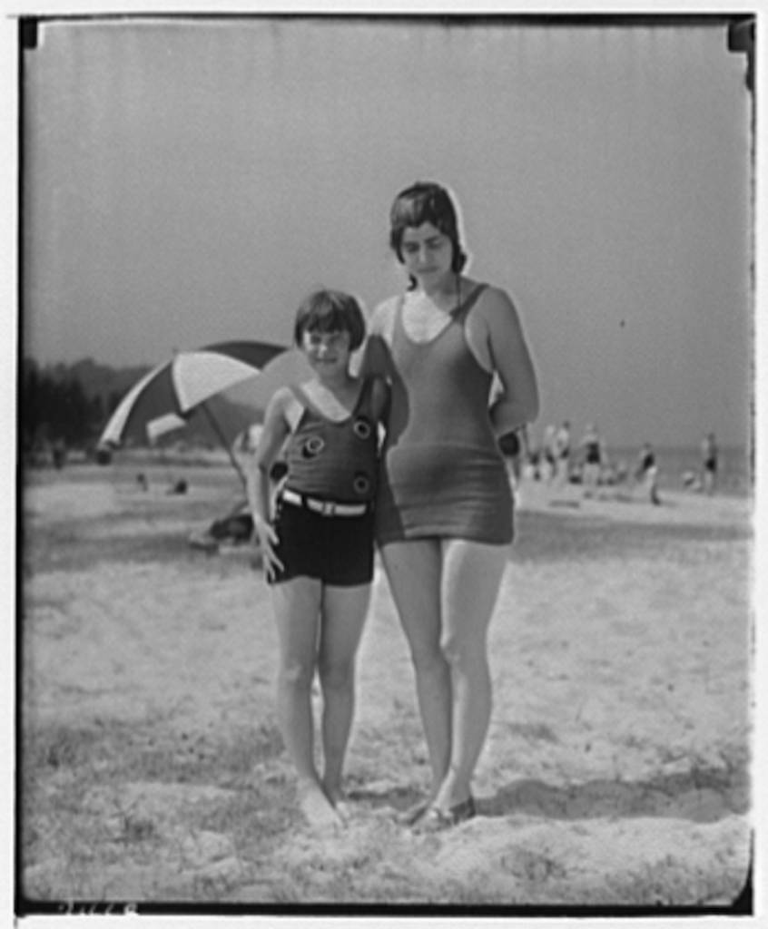 Theodor Horydczak and family. Fritzie Horydczak and Norma at the beach