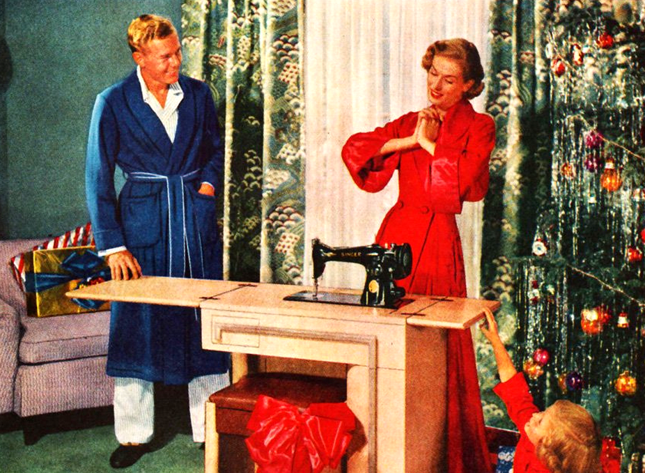 "Once in her life…every woman should have the thrill of a singer Xmas!"" Singer Sewing Centers Advert, 1951"
